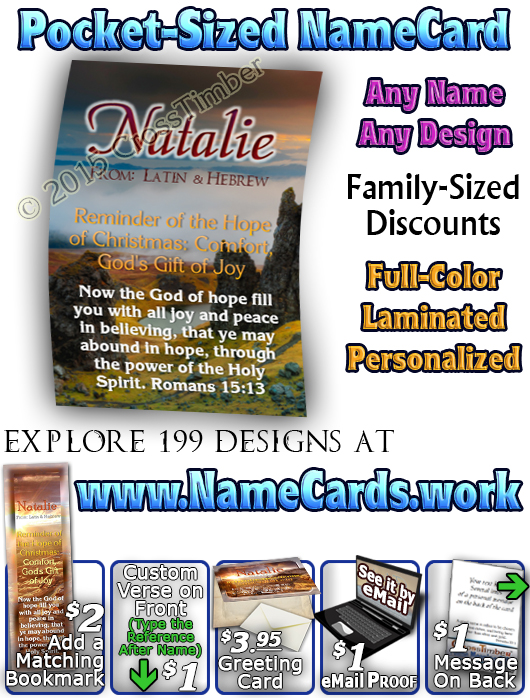PC-SC22, Name Meaning Card, Wallet Sized, with Bible Verse, personalized, western natalie, sunset