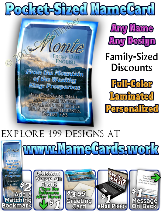 PC-SC26, Name Meaning Card, Wallet Sized, with Bible Verse, personalized, monte, mountain, lake