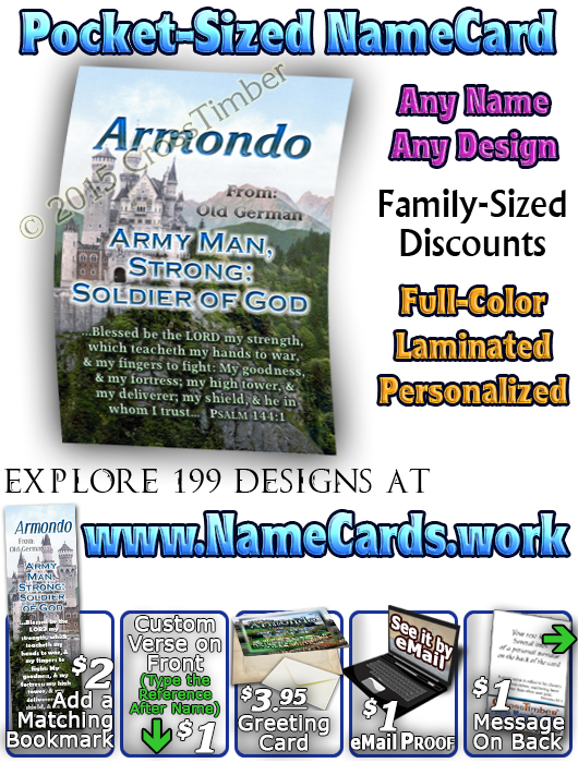 PC-SC35, Name Meaning Card, Wallet Sized, with Bible Verse, personalized, armondo, castle