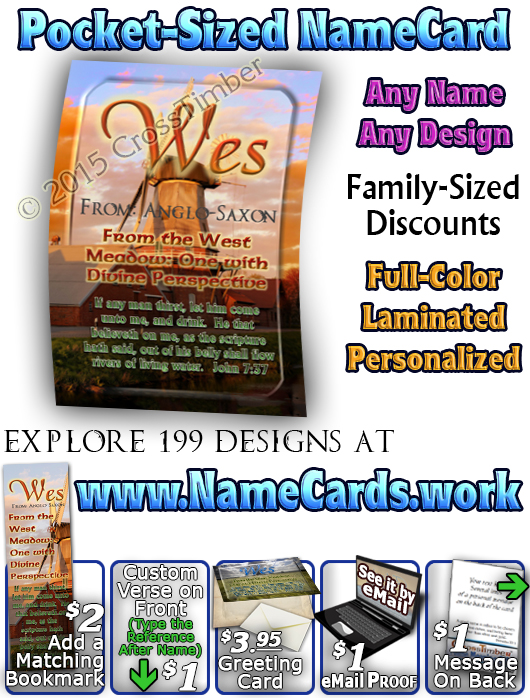 PC-SC36, Name Meaning Card, Wallet Sized, with Bible Verse, personalized,, wes, windmill, scenery