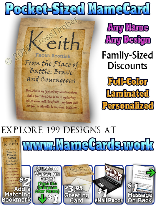 PC-SM09, Name Meaning Card, Wallet Sized, with Bible Verse, personalized, parchment old simple basic keith