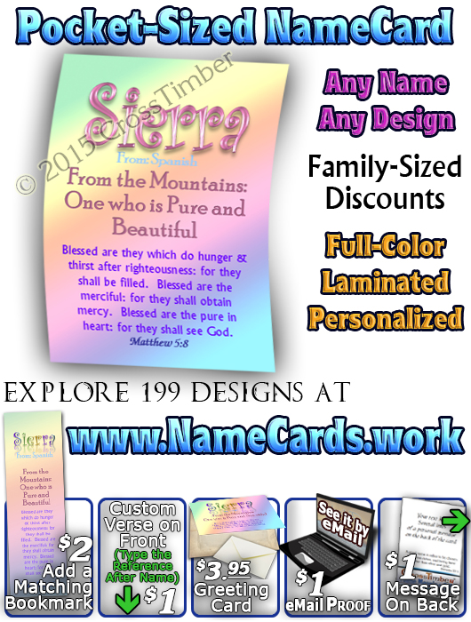 PC-SM11, Name Meaning Card, Wallet Sized, with Bible Verse, personalized, baby name, rainbow, sierra, pastel