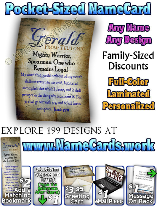 PC-SM16, Name Meaning Card, Wallet Sized, with Bible Verse, personalized, old ancient grunge secret gerald