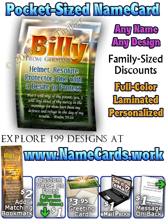 PC-SS04, Name Meaning Card, Wallet Sized, with Bible Verse, personalized, sunset, billy green orange