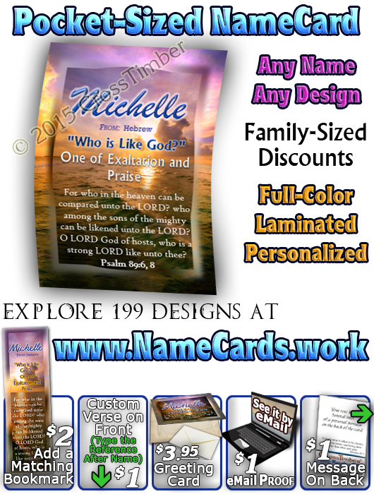 PC-SS05, Name Meaning Card, Wallet Sized, with Bible Verse, personalized, blue purple sunset