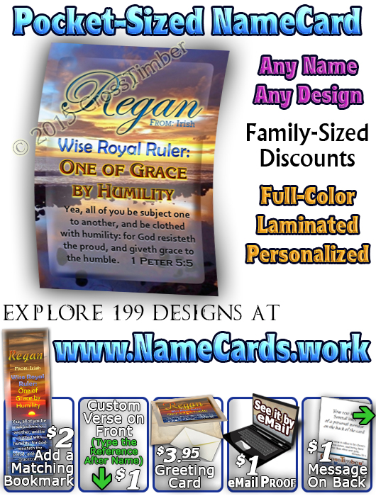 PC-SS06, Name Meaning Card, Wallet Sized, with Bible Verse, personalized, sunset sky sun regan