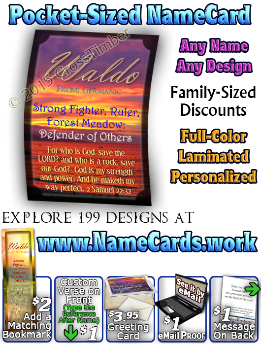 PC-SS08, Name Meaning Card, Wallet Sized, with Bible Verse, personalized, sunset jessica