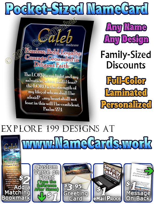 PC-SS11, Name Meaning Card, Wallet Sized, with Bible Verse, personalized, caleb night sunset