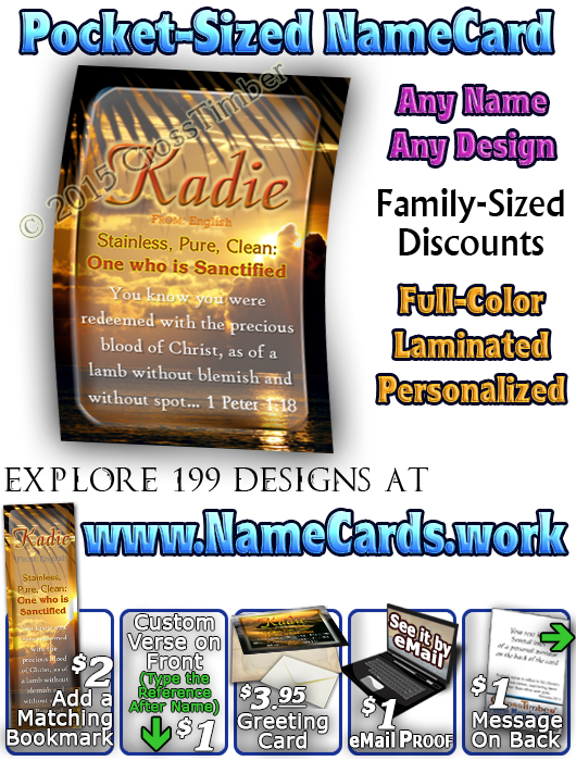 PC-SS20, Name Meaning Card, Wallet Sized, with Bible Verse, personalized, kadie ocean water, sunset
