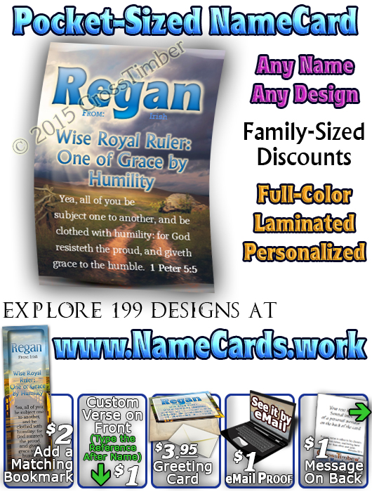PC-SY07, Name Meaning Card, Wallet Sized, with Bible Verse, personalized, regan path