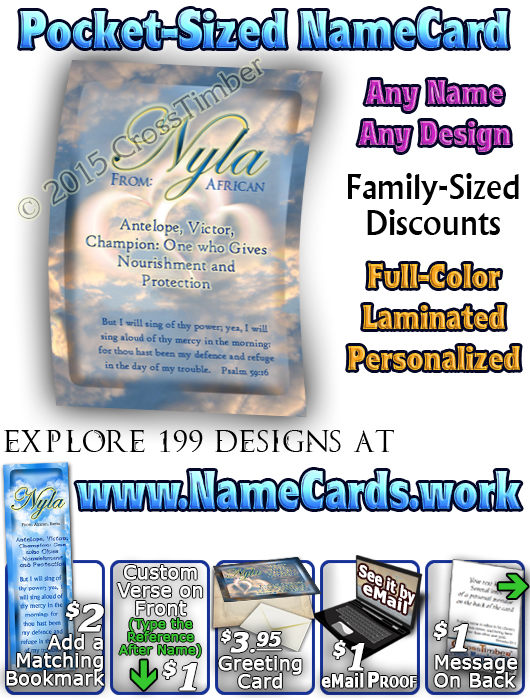 PC-SY30, Name Meaning Card, Wallet Sized, with Bible Verse, personalized, heart clouds sky sunset nyla