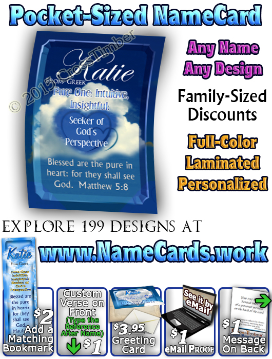 PC-SY32, Name Meaning Card, Wallet Sized, with Bible Verse, personalized, clouds heart katie