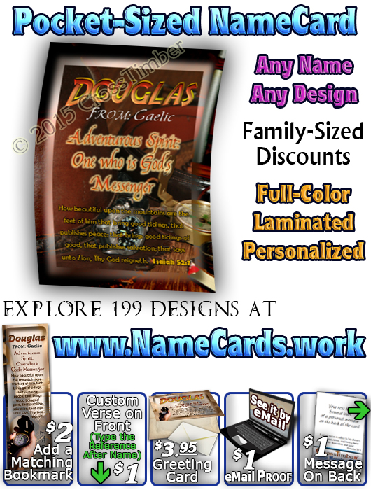 PC-SY40, Name Meaning Card, Wallet Sized, with Bible Verse, personalized, douglas adventure compass map telescope
