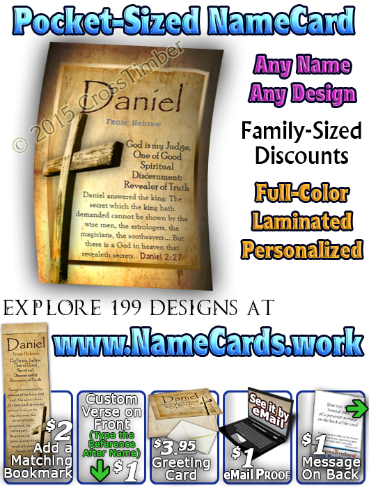 PC-SY42, Name Meaning Card, Wallet Sized, with Bible Verse, personalized, old rugged cross parchment Daniel Jesus Yeshua