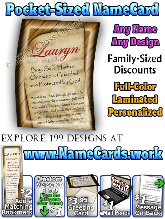 PC-SY44, Name Meaning Card, Wallet Sized, with Bible Verse, personalized, Lauryn book quill journal