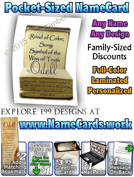 PC-SY45, Name Meaning Card, Wallet Sized, with Bible Verse, personalized, old book odell journal