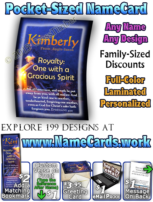 PC-SY56, Name Meaning Card, Wallet Sized, with Bible Verse, personalized, kimberly winter warm church cross