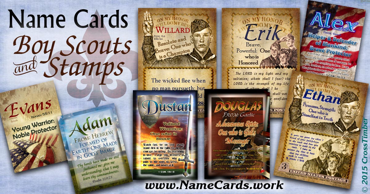 Custom-made cards with name meanings and boy scouts and stamp designs