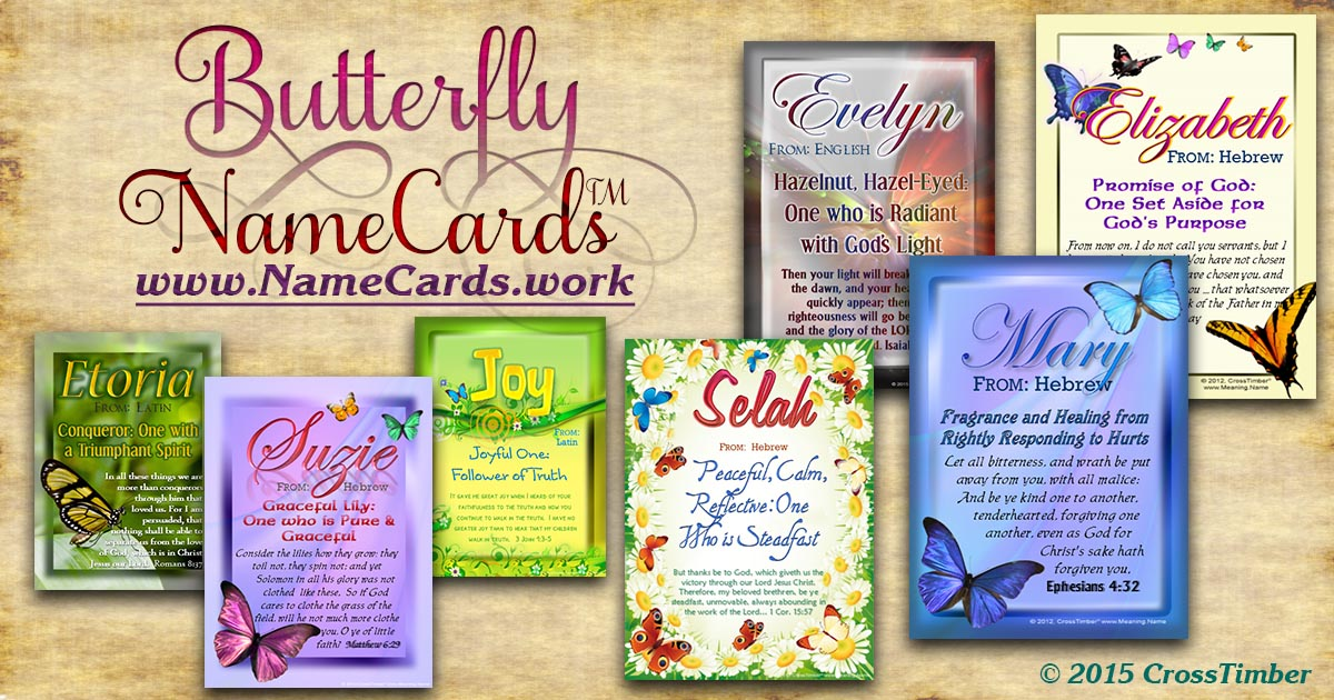 Elegant butterfly designs on pocket-sized name meaning cards