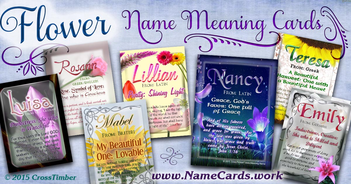 Beautiful name meaning cards with flowers and flower gardens in the background