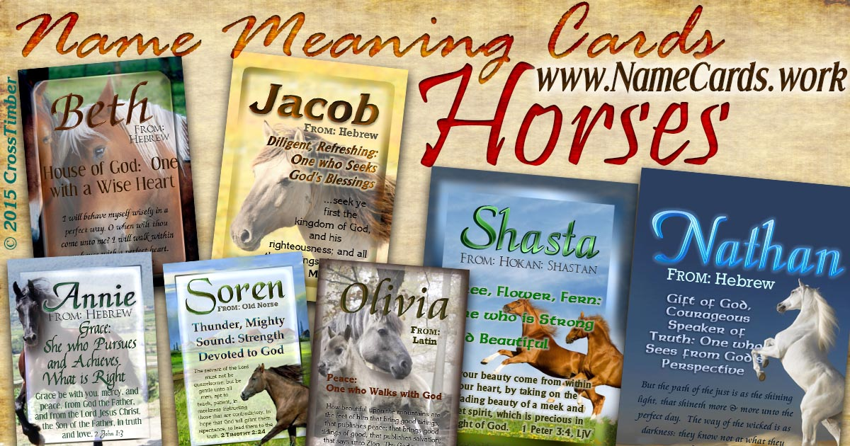 Personalized NameCards with name meanings, Bible verses and horse backgrounds