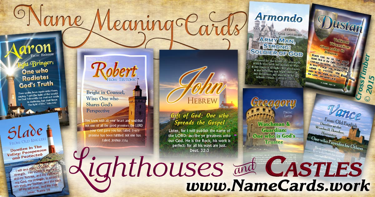 Personalized name meaning cards with lighthouse pictures