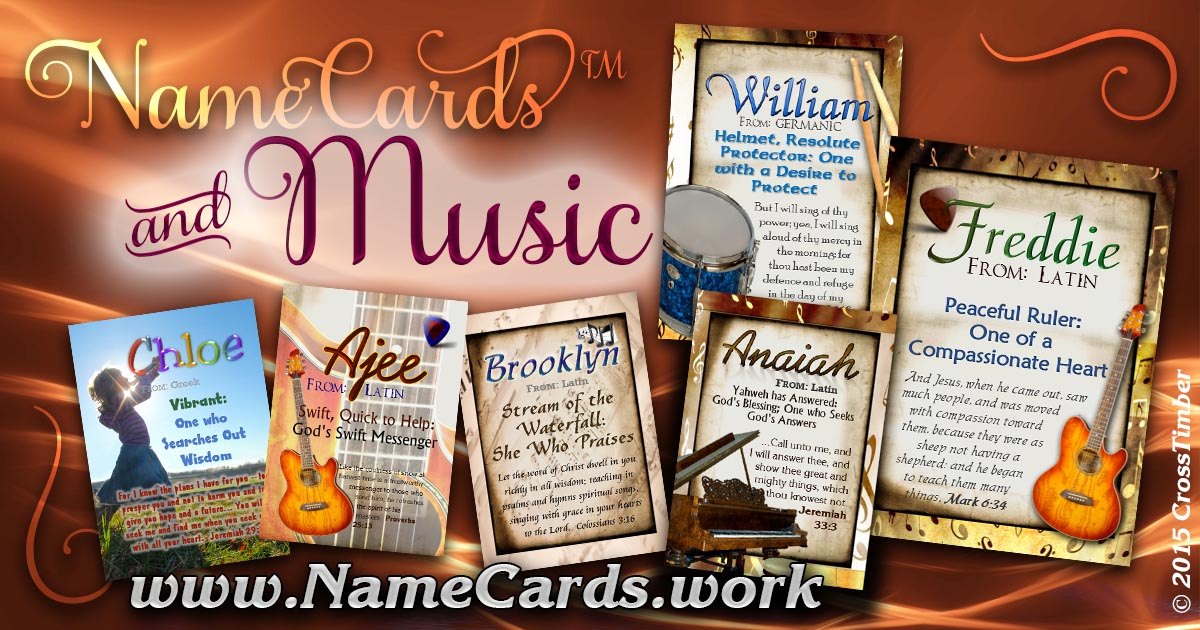 Name meaning pocket cards with music notes and musical instruments