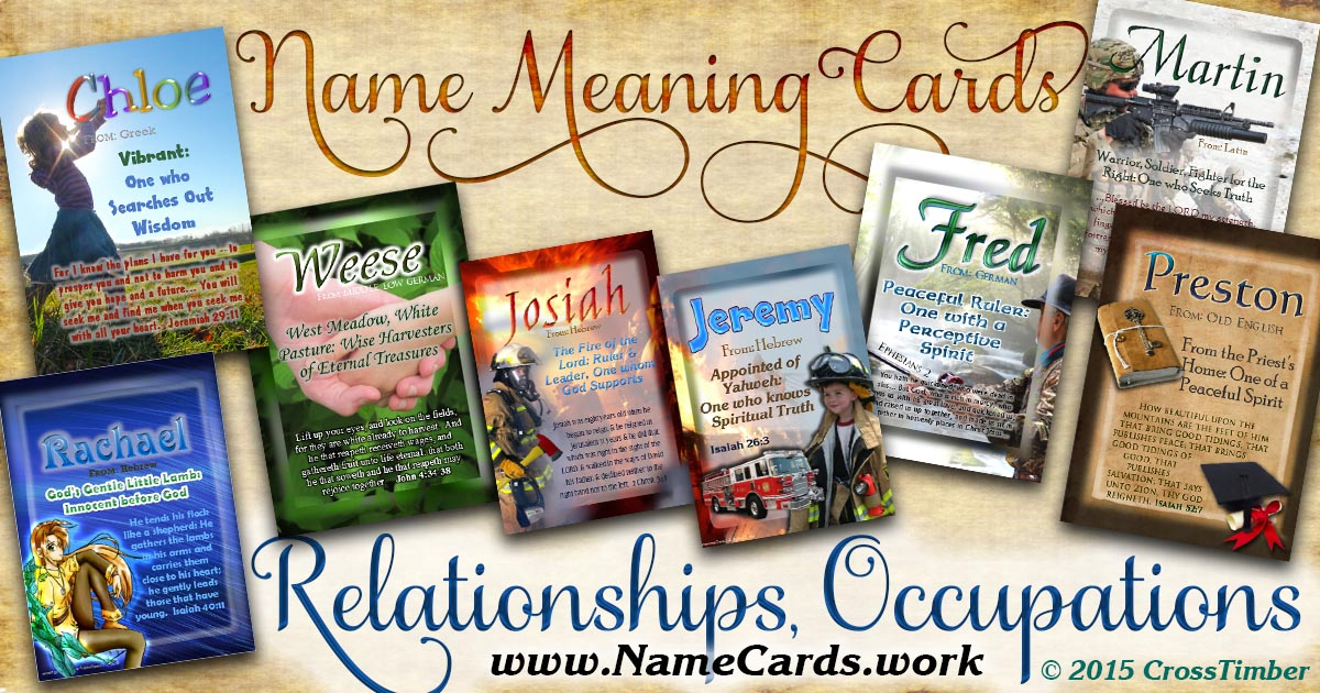 Wallet-sized name meaning cards with backgrounds of people and relationships