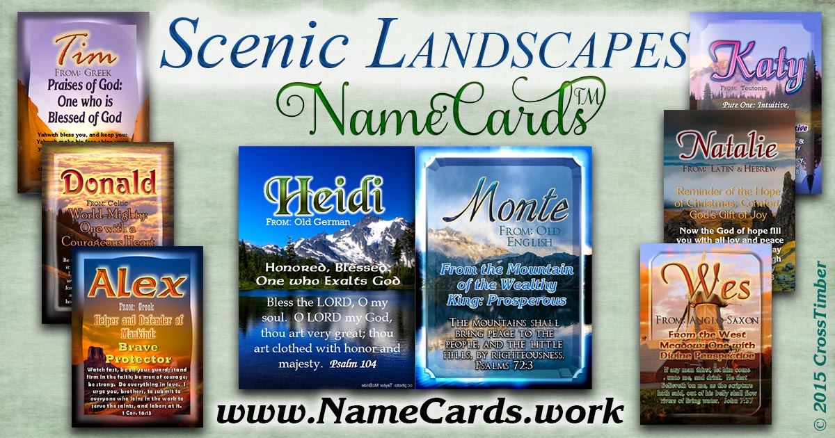 Christian name meanings printed on pocket-sized cards with scenic landscapes, mountains and sunsets