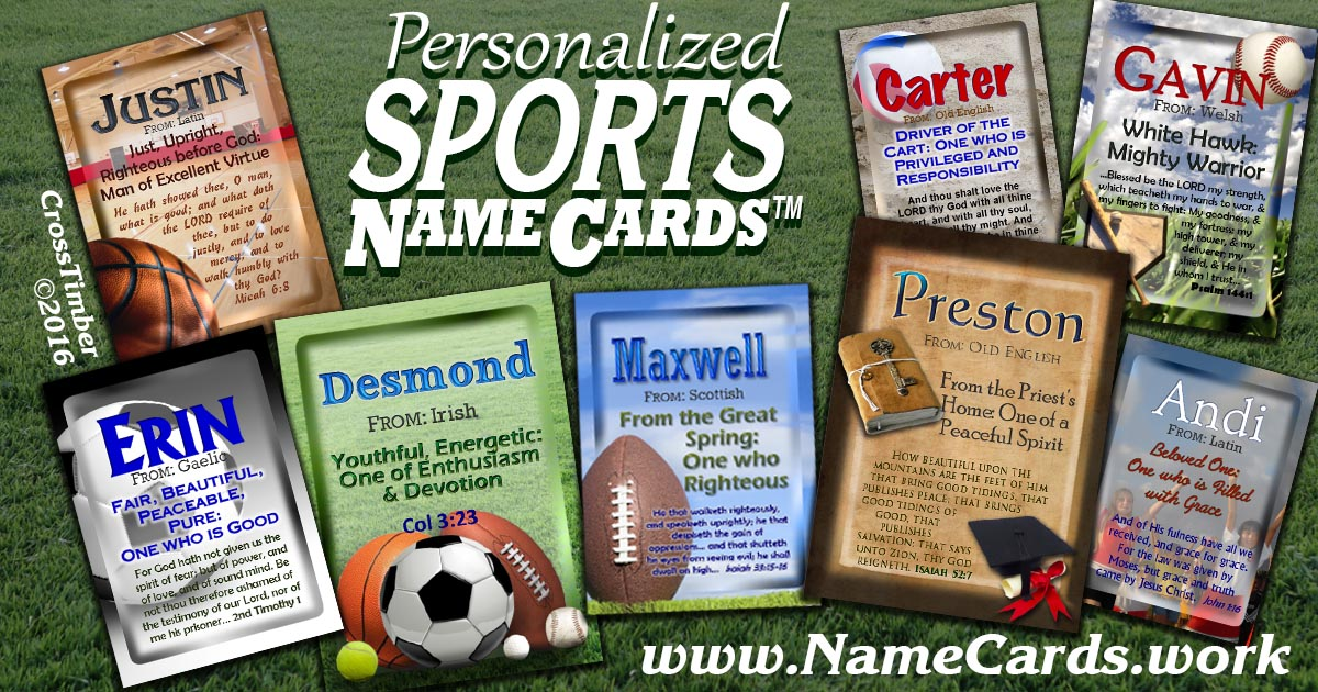 Personalized Sports-themed Cards with name meaning and Inspirational Quote