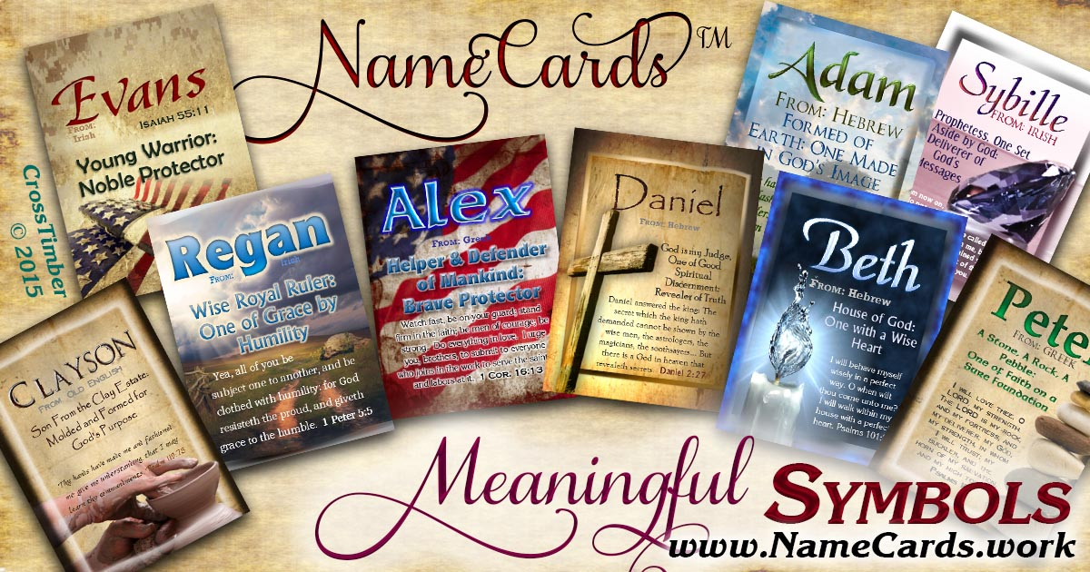Symbolic Picture cards with name meanings.