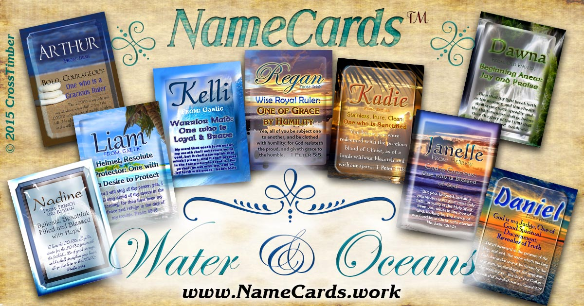 Name meaning cards with a backdrop of Oceans, Rivers and Beautiful Sunsets reflecting on the water.